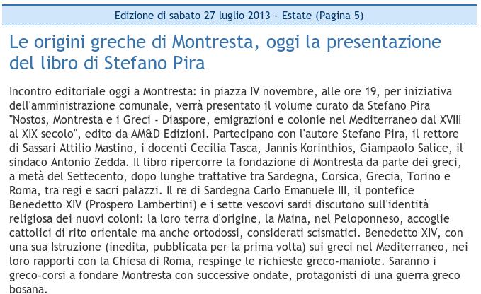 Le origini greche di Montresta, oggi la presentazione del libro di Stefano Pira